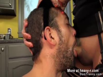 Busty tranny anal fucks male maid