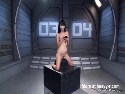 Asian spinner rides Sybian and machine