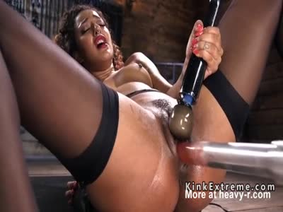 Curly Haired Ebony On Fucking Machine