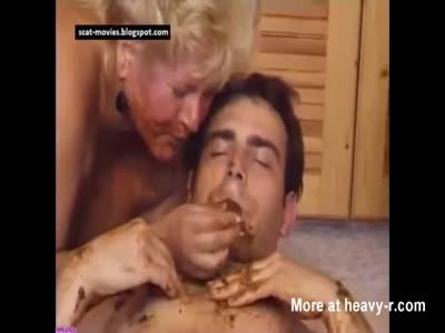 Fat Mature Feeding Shit