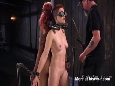 Two redhead slaved fucked in bondage