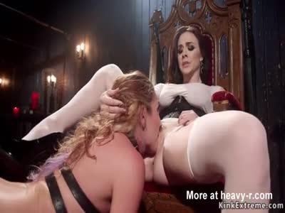 Mistress whips hot ass to brunette slave