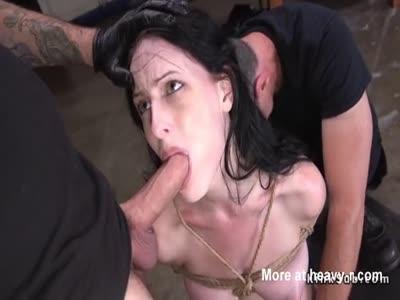 Slave gets gangbang anal threesome