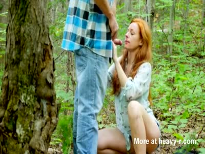 Redhead mommy blowjob and facial in the forest