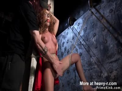 Curly Redhead Caned In Hogtie