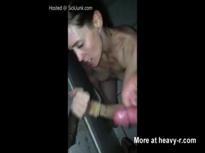 Finishing Off Four Dicks In Glory Hole