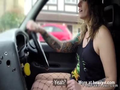 Cab driver in fishnets rides big black dick