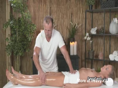 Blonde Slut Fucked On Massage Table