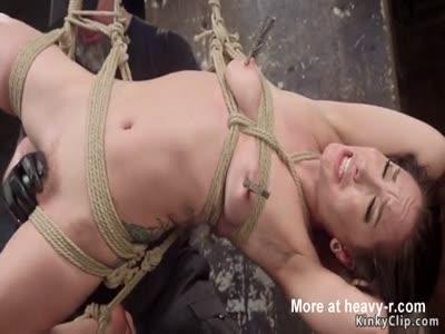 Bound Brat Pussy Fucked With Dildo