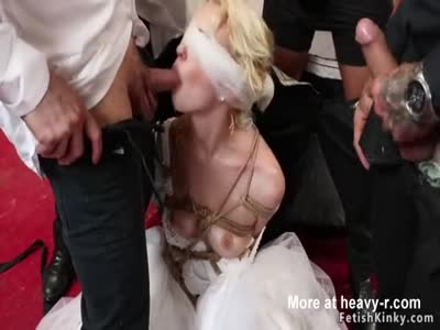 Blindfolded tied bride group banged