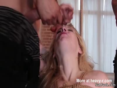 Blonde slave gets anal gangbang fucked