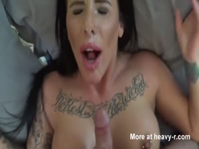 Big Load On Busty Tattooed Face