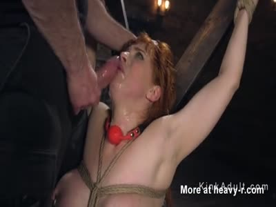 Bound Huge Naturals Slave Gagging On Cock