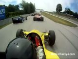 Cockpit view of race car crash