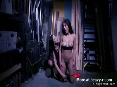 In motel room bondage lesbian anal banged