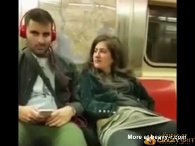 Psycho Woman Masturbating In Subway