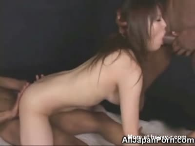 Japanese Girl in Black Cocks Threesome!