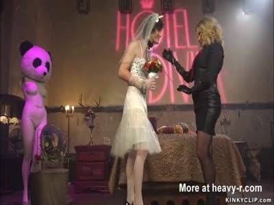 Feminized bride anal toyed by mistress