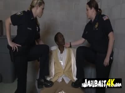 Milf cops catch fake pimp and take him to their private spot