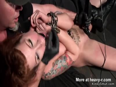 Chained redhead in upside down suspension