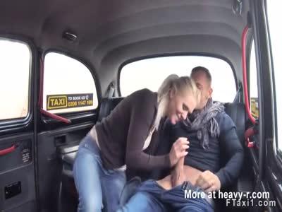 Hot female fake taxi driver hard fucks in cab