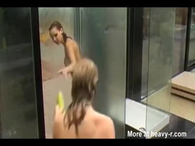 cuties washing pussy in public shower room