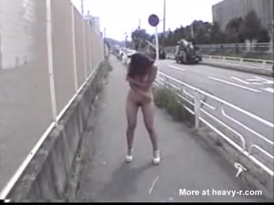 Asian Walking Nude In Public And Pissing