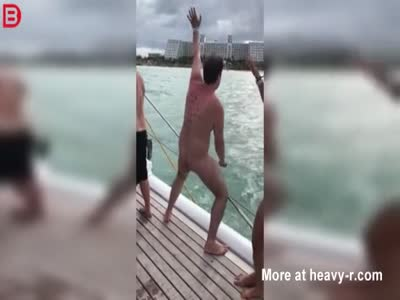 Drunk Naked Man Falls Off Party Boat