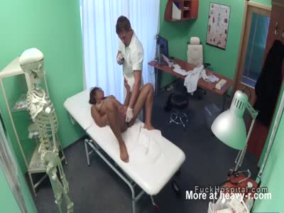 Busty ebony patient sucks doctors dick