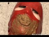 Red Latex Teen Girl Eating Shit