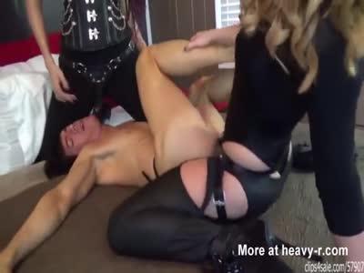 Two Mistresses In Strap On Spitroast