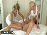 Lesbian Threesome On Massage Table