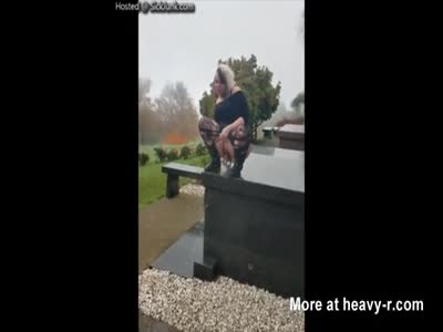 Evil Bitch Pissing On Her Mothers Grave