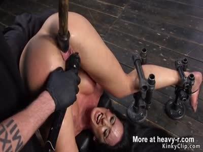 Sweaty Brunette Rough Fucked In Bondage Device