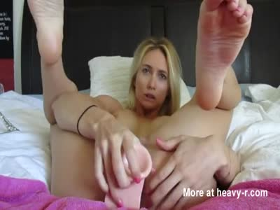 Fake Tits Blonde With Big Dildo
