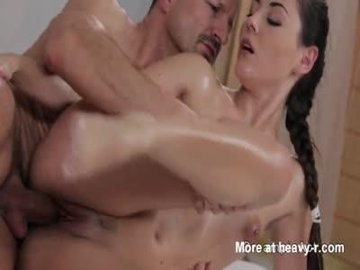 Masseur fills brunette babe with creampie