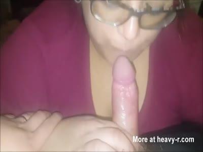 Horny Plump Teen In Glasses Giving Skillful BJ