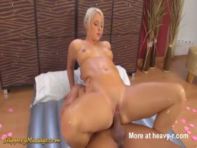 Slippery Massage Turns Into Reverse Cowgirl