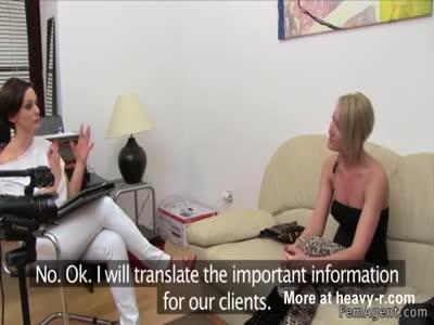 Female agent helps blonde masturbates