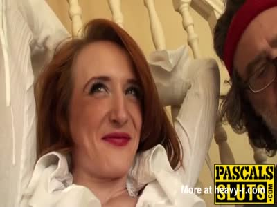 Redhead slut Sabrina Jay deepthroats before hard fucking