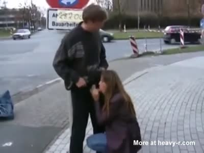 Public blowjob in street, train and bus stop
