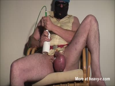 Pumping Up His Ballsack