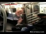 Naked Man Attacks People In Subway