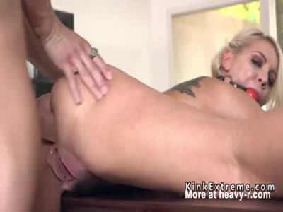 Tied up big tits blonde anal fucked