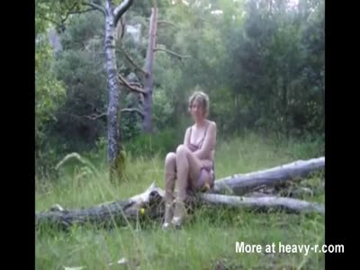 Mature Sally eats my cum in a forest