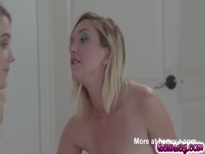 Eliza's face deep in Kenna's wet pussy and moans