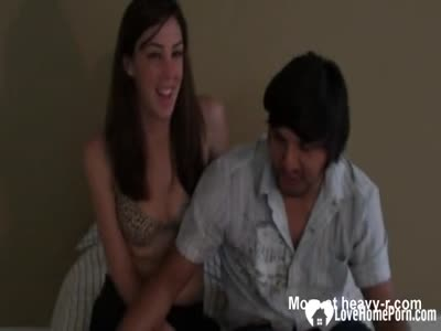 Brunette beauty is happy to ride his pecker