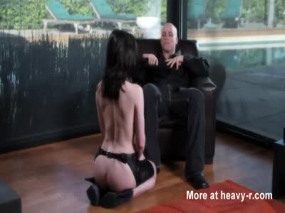 Obedient brunette fucked by her master
