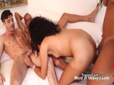 Two shemales in crazy orgy
