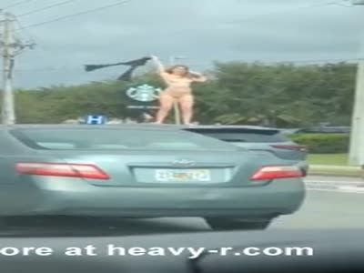 Girl Masturbating On Top Of Her Car